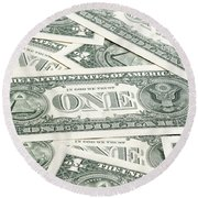 Round Beach Towel featuring the photograph Carpet Of One Dollar Bills by Lee Avison