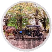 Carriage Rides Series 03 Round Beach Towel