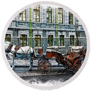 Carriage Rides Series 06 Round Beach Towel