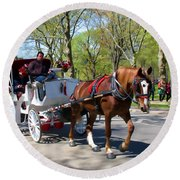 Carriage Ride In Central Park Round Beach Towel by Eleanor Abramson