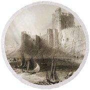 Carrickfergus Castle, County Antrim, Northern Ireland, From Scenery And Antiquities Of Ireland Round Beach Towel