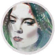 Carrie Under Veil Round Beach Towel by Kim Prowse
