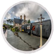 Carrog Railway Station Round Beach Towel