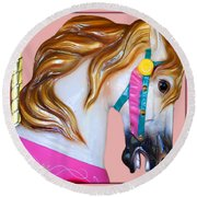 Carrousel Horse Round Beach Towel by Jennifer Muller