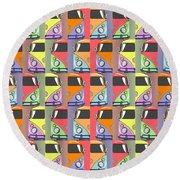 Cars Abstract  Round Beach Towel