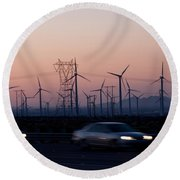 Cars Moving On Road With Wind Turbines Round Beach Towel