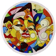 Cartoon Painting With Hidden Pictures Round Beach Towel