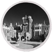 Casa Loma In Toronto In Black And White Round Beach Towel