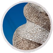Casa Mila Abstract Chimney Detail In Barcelona Round Beach Towel
