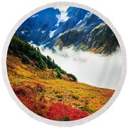Cascade Pass Peaks Round Beach Towel by Inge Johnsson