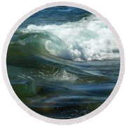 Round Beach Towel featuring the photograph Cascade Wave by James Peterson