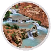 Cascades Of Beaver Falls Round Beach Towel