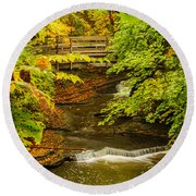 Cascadilla Gorge Cornell University Round Beach Towel