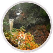 Round Beach Towel featuring the photograph Cascading Steps by James Peterson