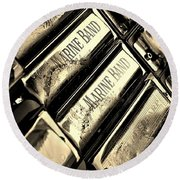 Case Of Harmonicas  Round Beach Towel by Chris Berry
