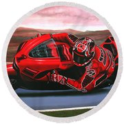 Casey Stoner On Ducati Round Beach Towel