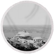Casino At The Top Of Mt Beacon In Black And White Round Beach Towel
