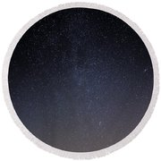 Round Beach Towel featuring the photograph Cassiopeia And Andromeda Galaxy 01 by Greg Reed