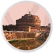 Round Beach Towel featuring the photograph Castel Sant 'angelo by Brian Reaves