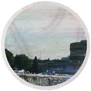 Round Beach Towel featuring the painting Castel Sant'angelo     by Brian Reaves