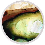 Casting Shadows - Earthy Abstract By Sharon Cummings Round Beach Towel