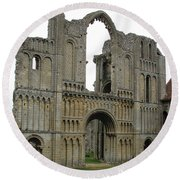 Round Beach Towel featuring the photograph Castle Acre Abbey by Stephanie Grant