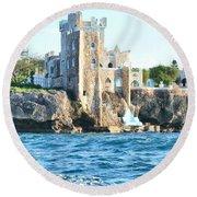 Castle At Sea Round Beach Towel