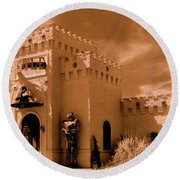 Round Beach Towel featuring the photograph Castle By The Road by Rodney Lee Williams