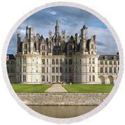 Castle, Chateau De Chambord Round Beach Towel