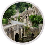 Castle Combe Cotswolds Village Round Beach Towel