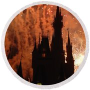 Round Beach Towel featuring the photograph Castle Fire Show by David Nicholls