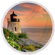 Castle Hill Lighthouse - Rhode Island Round Beach Towel