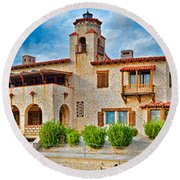 Castle In A Desert, Scottys Castle Round Beach Towel by Panoramic Images