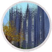 Round Beach Towel featuring the digital art Castle by Nina Bradica