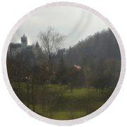Castle On A Hill, Bran Castle Round Beach Towel