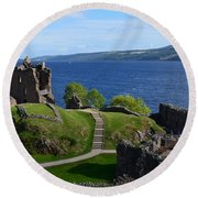 Castle Ruins On Loch Ness Round Beach Towel by DejaVu Designs