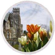 Castle Tulips Round Beach Towel