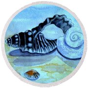 Round Beach Towel featuring the painting Castles In The Sand by Leanne Seymour