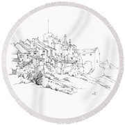 Castletown Coastal Houses Round Beach Towel