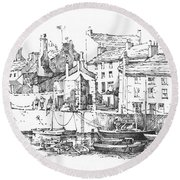 Round Beach Towel featuring the drawing Castletown Harbour by Paul Davenport