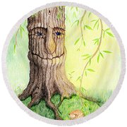Cat And Great Mother Tree Round Beach Towel