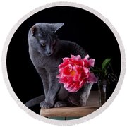 Cat And Tulip Round Beach Towel