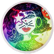 Round Beach Towel featuring the mixed media Cat Birthday by Ann Calvo