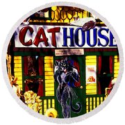 Cat Cat House Round Beach Towel