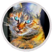 Round Beach Towel featuring the digital art Cat by Daniel Janda