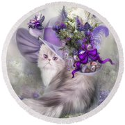 Cat In Easter Lilac Hat Round Beach Towel