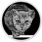 Cat In Glasses  Round Beach Towel by Jean Cormier