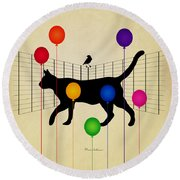 cat Round Beach Towel by Mark Ashkenazi