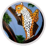 Cat On A Hot Wood Tree Round Beach Towel by Nora Shepley