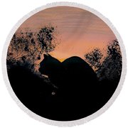 Round Beach Towel featuring the drawing Cat - Orange - Silhouette by D Hackett